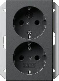 Gira SCHUKO-Doppelsteckdose 16 A 250 V, anthrazit (2731 28)