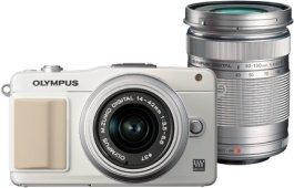 Olympus PEN E-PM2 weiß mit Objektiv M.Zuiko digital 14-42mm II und M.Zuiko digital ED 40-150mm (V206022WE000)