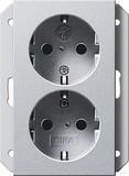 Gira SCHUKO-Doppelsteckdose 16 A 250 V, alu (2731 26)