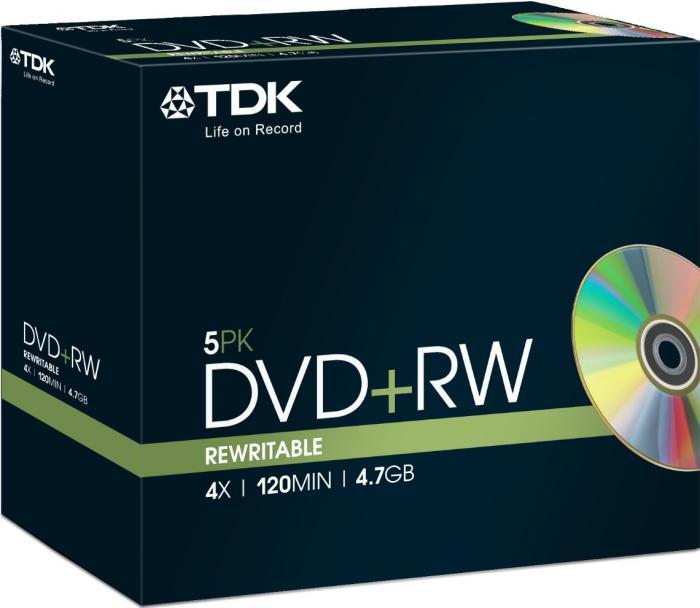 TDK DVD+RW 4.7GB 4x, Jewelcase 5 sztuk (T18444)