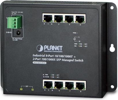 Planet WGS-4215-8T2S Industrial Wallmount Gigabit Managed Switch, 8x RJ-45, 2x SFP