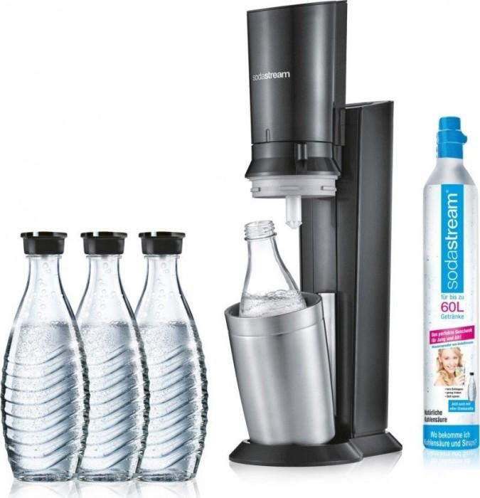 SodaStream Crystal 2.0 schwarz Trinkwassersprudler mit 3 Glaskaraffen (1216513490)