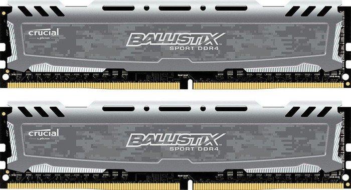 Crucial Ballistix Sport LT grau DIMM Kit 16GB, DDR4-2400, CL16-16-16 (BLS2C8G4D240FSB/BLS2K8G4D240FSB)