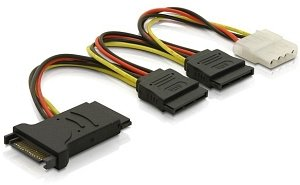 DeLOCK SATA-power adapter 15-Pin (SATA) on 3x 15-Pin (SATA) and 1x 4-Pin (IDE)