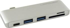 LC-Power silver dual-slot-Card Readers, USB-C 3.0 [plug] (LC-HUB-C-MULTI-2S)