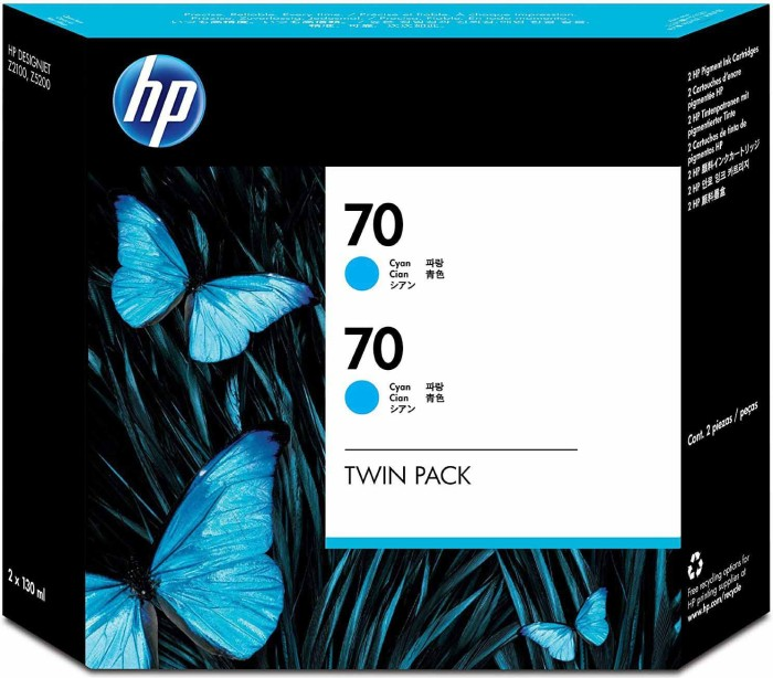 HP ink Nr 70 cyan, 2-pack (CB343A)