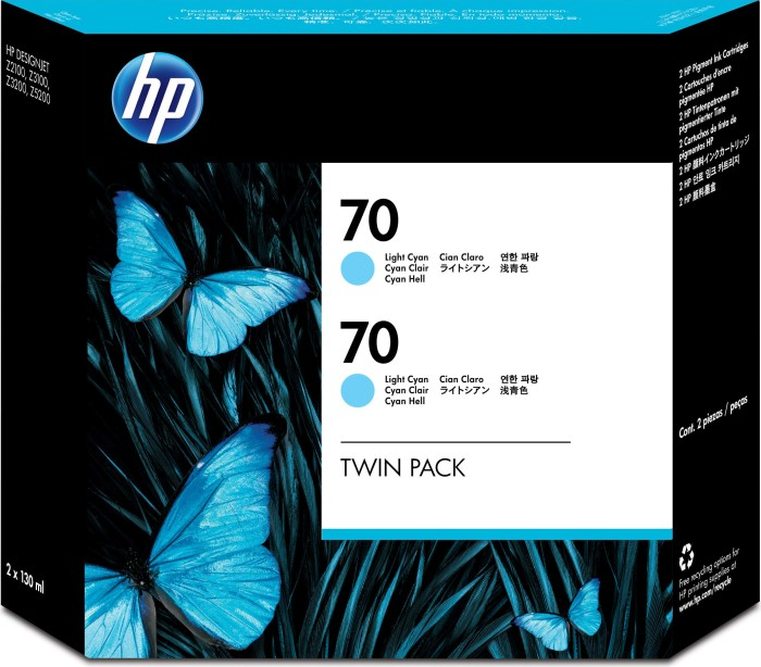 HP 70 Tinte cyan hell, 2er-Pack (CB351A)