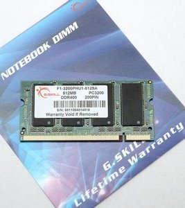 G.Skill SO-DIMM 512MB PC-3200 DDR CL2.5 (DDR-400) (F1-3200PHU1-512SA)
