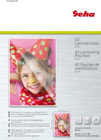 Geha Laminierfolie A3, 2x 80 micron, glänzend, 25 Stück (93403) -- via Amazon Partnerprogramm