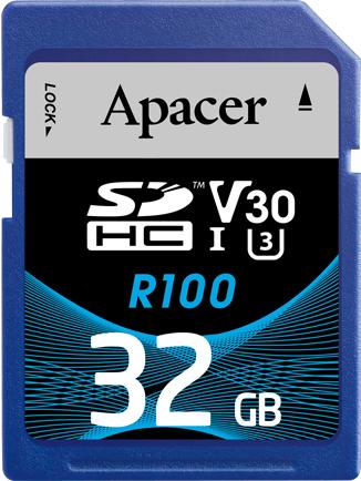 Apacer R100 SDHC 32GB, UHS-I U3, Class 10 (AP32GSDHC10U7-R)