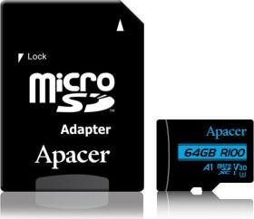 Apacer R100/W80 microSDXC 64GB Kit, UHS-I U3, A1, Class 10 (AP64GMCSX10U7-R)