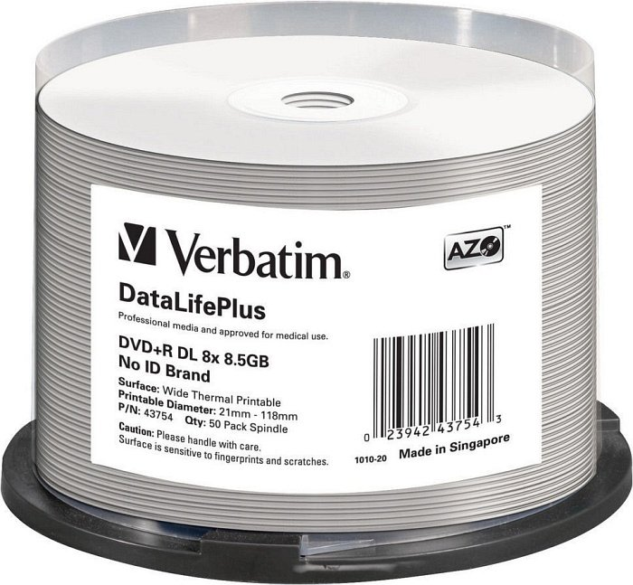 Verbatim DVD+R 8.5GB DL 8x, 50-pack Spindle wide Thermal printable No ID fire (43754)