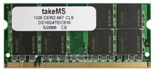 takeMS SO-DIMM 1GB, DDR2-667, CL5