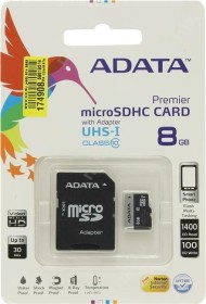 ADATA Premier microSDHC 8GB Kit, UHS-I U1, Class 10 (AUSDH8GUICL10-RA1)
