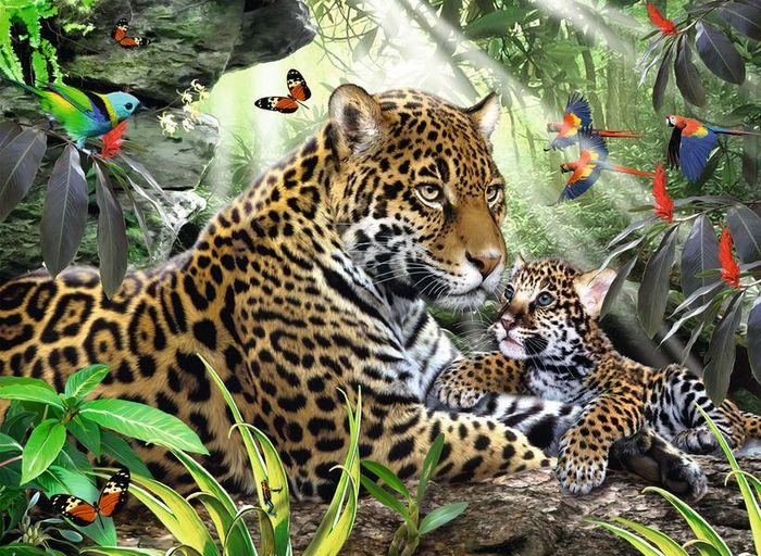 Puzzle 500 Teile Spiel Deutsch 2014 Jaguar Nachwuchs Puzzles & Geduldspiele