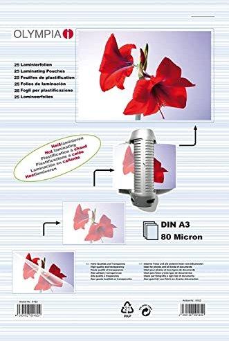 Olympia Laminierfolie A3, 2x 80 micron, 25 Stück (9180/9182) -- via Amazon Partnerprogramm