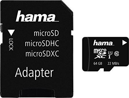 Hama High Speed R22 microSDXC + Adapter Foto 64GB Kit, Class 10 (00108077) -- via Amazon Partnerprogramm