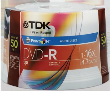 TDK DVD-R 4.7GB 16x, 50er Spindel printable (T19914)