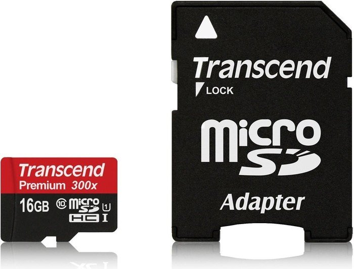 Transcend R45 microSDHC Premium 16GB Kit, UHS-I, Class 10 (TS16GUSDU1)