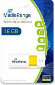 MediaRange USB Speicherstick Color Edition 16GB weiß/gelb, USB 2.0 (MR972)