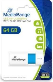 MediaRange USB Speicherstick Color Edition 64GB weiß/hellblau, USB 2.0 (MR974)