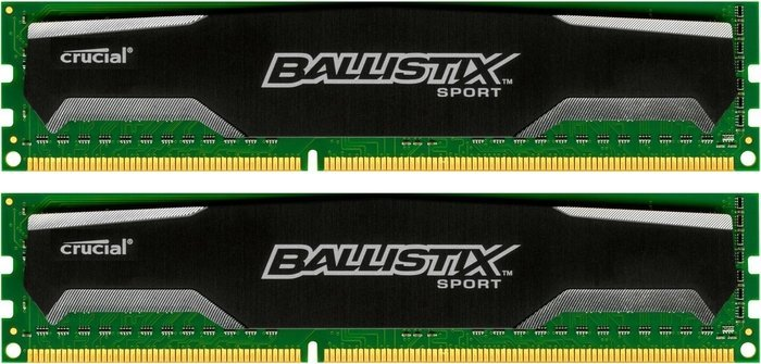 Crucial Ballistix sports DIMM kit 16GB PC3-12800U CL9-9-9-24 (DDR3-1600) (BLS2CP8G3D1609DS1S00)