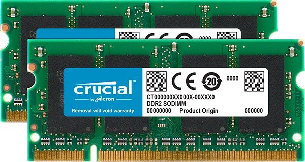 Crucial SO-DIMM kit 4GB, DDR2-800, CL6 (CT2KIT25664AC800)
