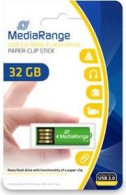 MediaRange USB Nano-Speicherstick mit Büroklammerfunktion 32GB grün, USB 2.0 (MR977)