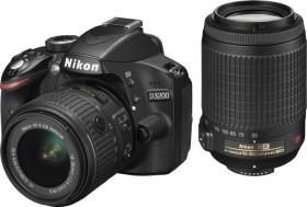 Nikon D3200 schwarz mit Objektiv AF-S VR DX 18-55mm II und AF-S VR DX 55-200mm (VBA330K010)