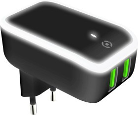Celly Wall Charger Night Light schwarz (TC2USBLEDBK)