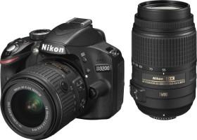 Nikon D3200 schwarz mit Objektiv AF-S VR DX 18-55mm II und AF-S VR DX 55-300mm (VBA330K011)