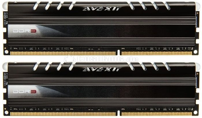 Avexir Core Series blue LED DIMM kit 8GB PC3-12800U CL9-9-9-24 (DDR3-1600) (AVD3U16000904G-2CW) -- (c) caseking.de