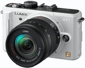 Panasonic Lumix DMC-GF1 weiß mit Objektiv Lumix G 20mm 1.7 (DMC-GF1C)