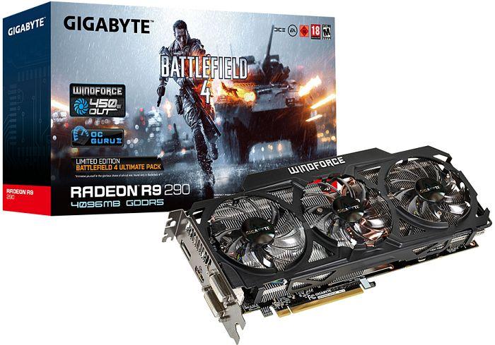 Gigabyte Radeon R9 290 Windforce 3X OC Battlefield 4 Edition, 4GB GDDR5, 2x DVI, HDMI, DP (GV-R929OC-4GD-GA)