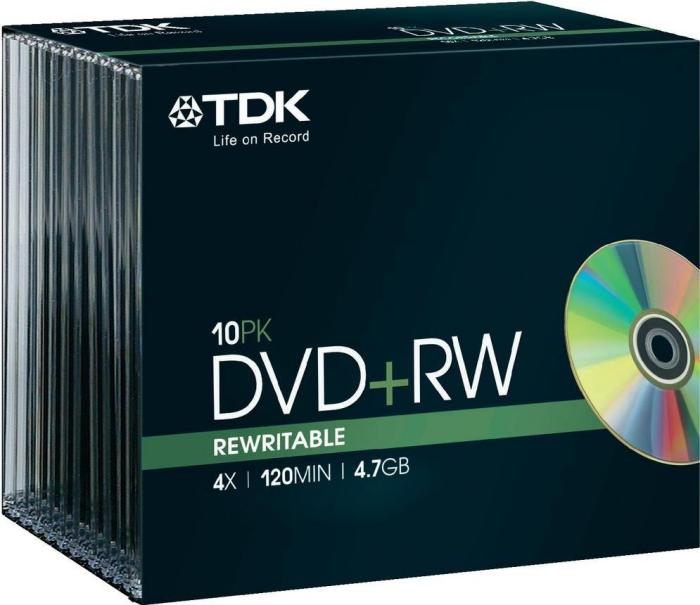 TDK DVD+RW 4.7GB 4x, 10er Slimcase (T19522)