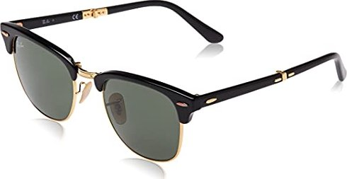 Ray-Ban RB2176 Clubmaster Folding Rechteckig Sonnenbrille, Mehrfarbig (Black/Green 901)