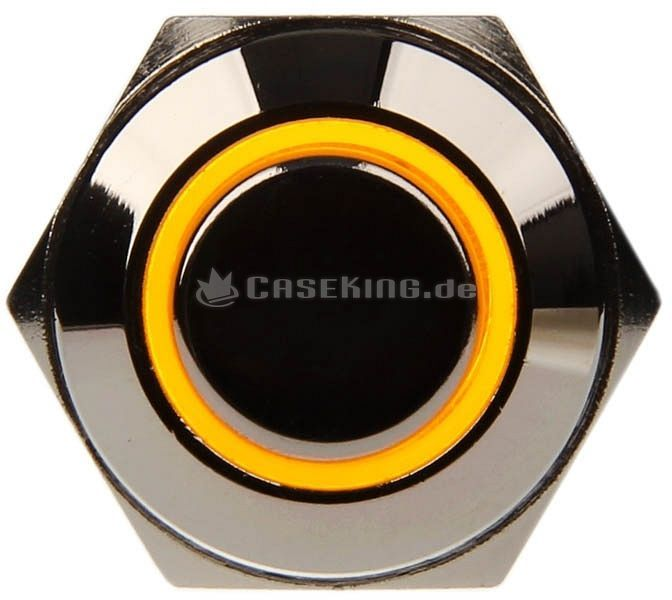 Dimastech vandalism switch silver 16mm, yellow illuminated ring (PD010) -- © caseking.de