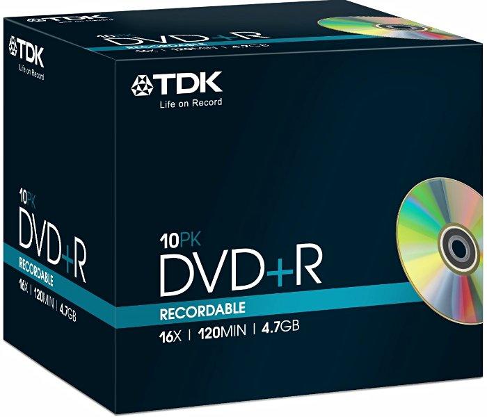 TDK DVD+R 4.7GB 16x, 10er Jewelcase (T19389)