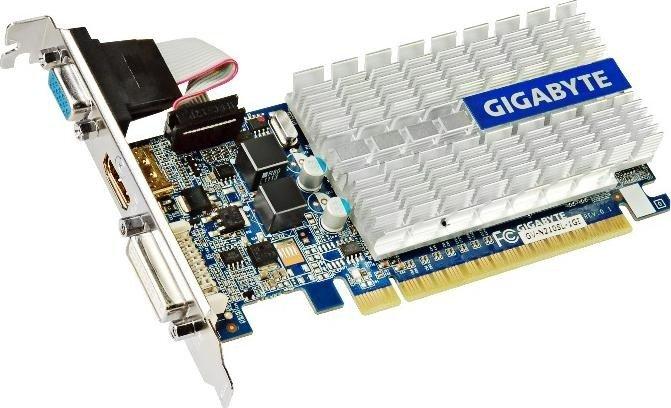 Gigabyte GeForce 210 (GT218-300-B1) passiv, 1GB DDR3, VGA, DVI, HDMI (GV-N210SL-1GI)