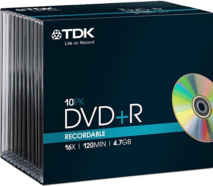 TDK DVD+R 4.7GB 16x, 10-pack Slimcase (T19447)