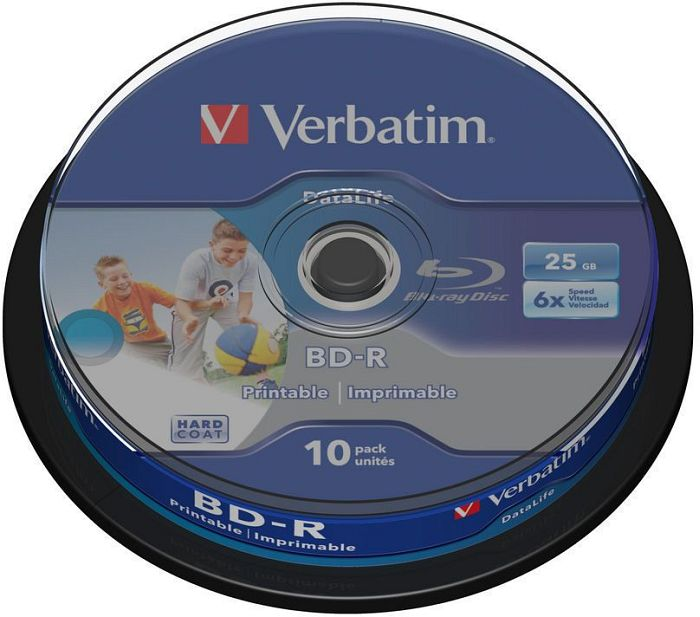 Verbatim BD-R 25GB 6x, 10-pack Spindle wide Inkjet printable (43804)