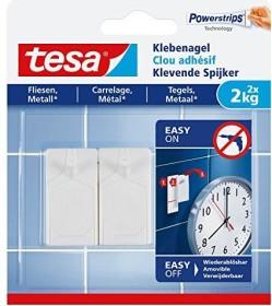 tesa Powerstrips Klebenagel für Fliesen und Metall, 2kg Tragkraft, 2 Stück (77762)