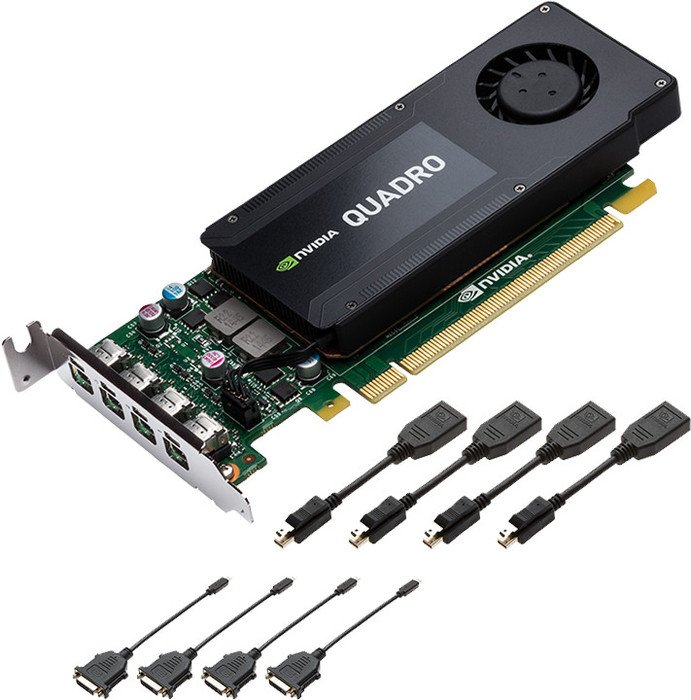 PNY Quadro K1200 for DVI, 4GB GDDR5, 4x mDP (VCQK1200DVI-PB)