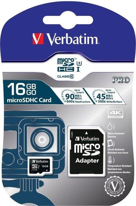 Verbatim Pro U3 R90/W45 microSDHC 16GB Kit, UHS-I U3, Class 10 (47040)