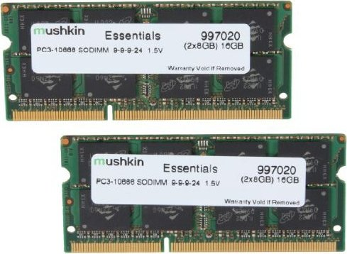 Mushkin Essentials SO-DIMM Kit 16GB, DDR3-1333, CL9-9-9-24 (997020) -- via Amazon Partnerprogramm