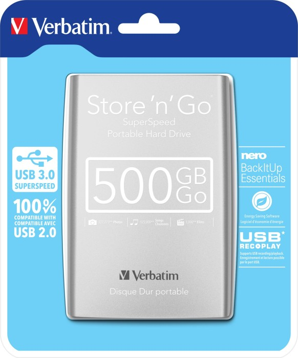 Verbatim Store 'n' Go Portable silber  500GB, USB 3.0 (53017/53021) -- via Amazon Partnerprogramm