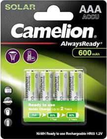 Camelion AlwaysReady solar Micro AAA NiMH 600mAh, 4-pack (NH-AAA600ARBP4)