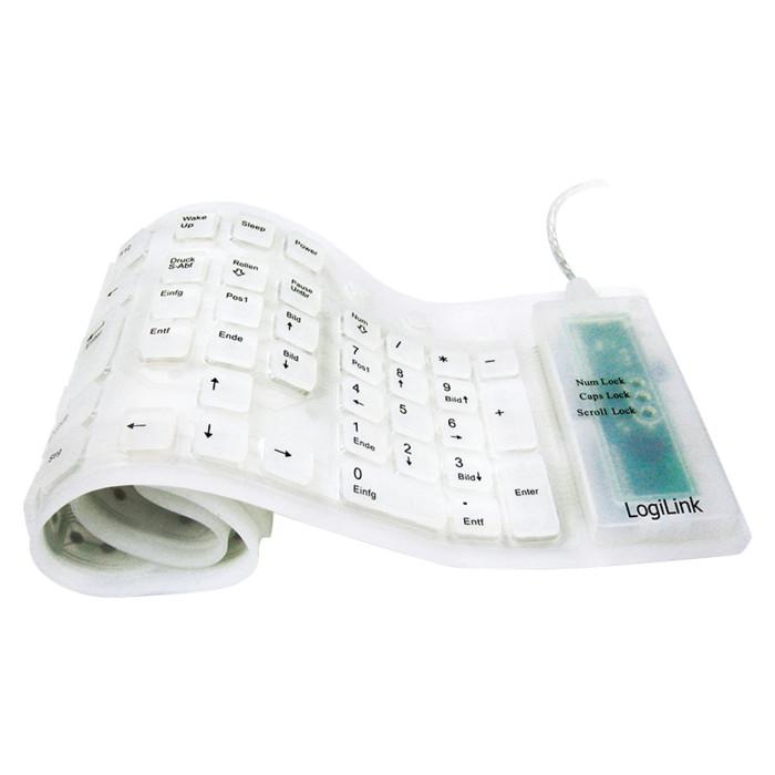 LogiLink Flexible Waterproof Keyboard weiß, PS/2 & USB, DE (ID0018)