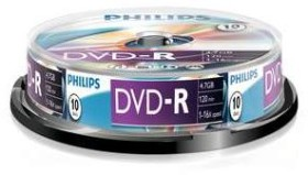 Philips DVD-R 4.7GB, 10-pack Spindle (DM4S6B10F)