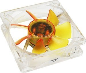 Akasa Ultra Quiet amber Series, 80x80x25mm, 1800rpm, 43.2m³/h, 20dB(A) (AK-182-L2B) -- (c) caseking.de